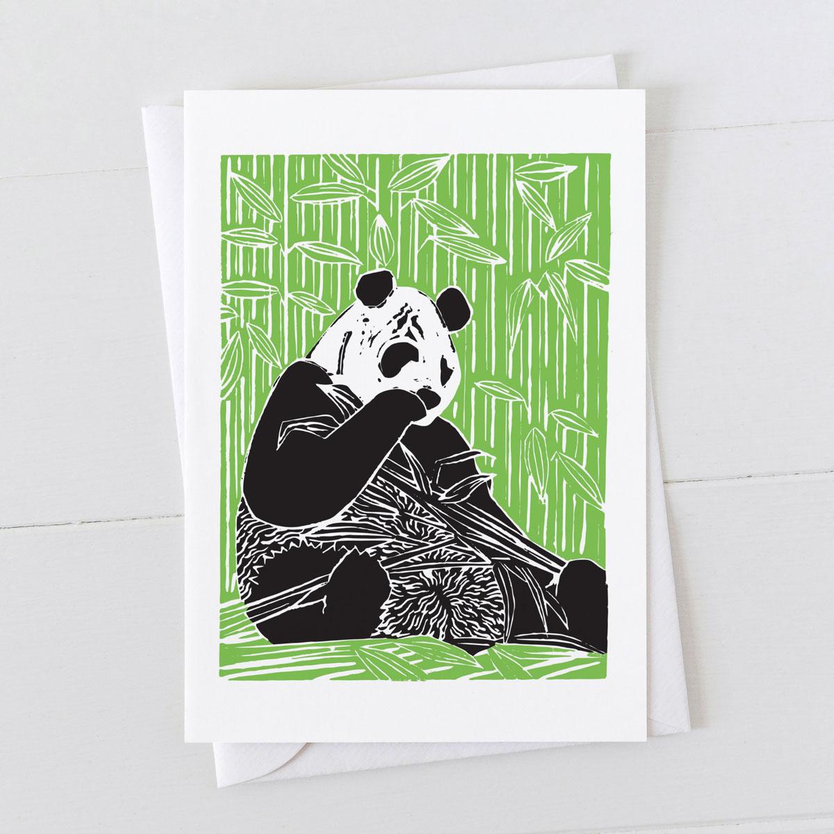 Panda Bear Colour Linocut Greeting Card