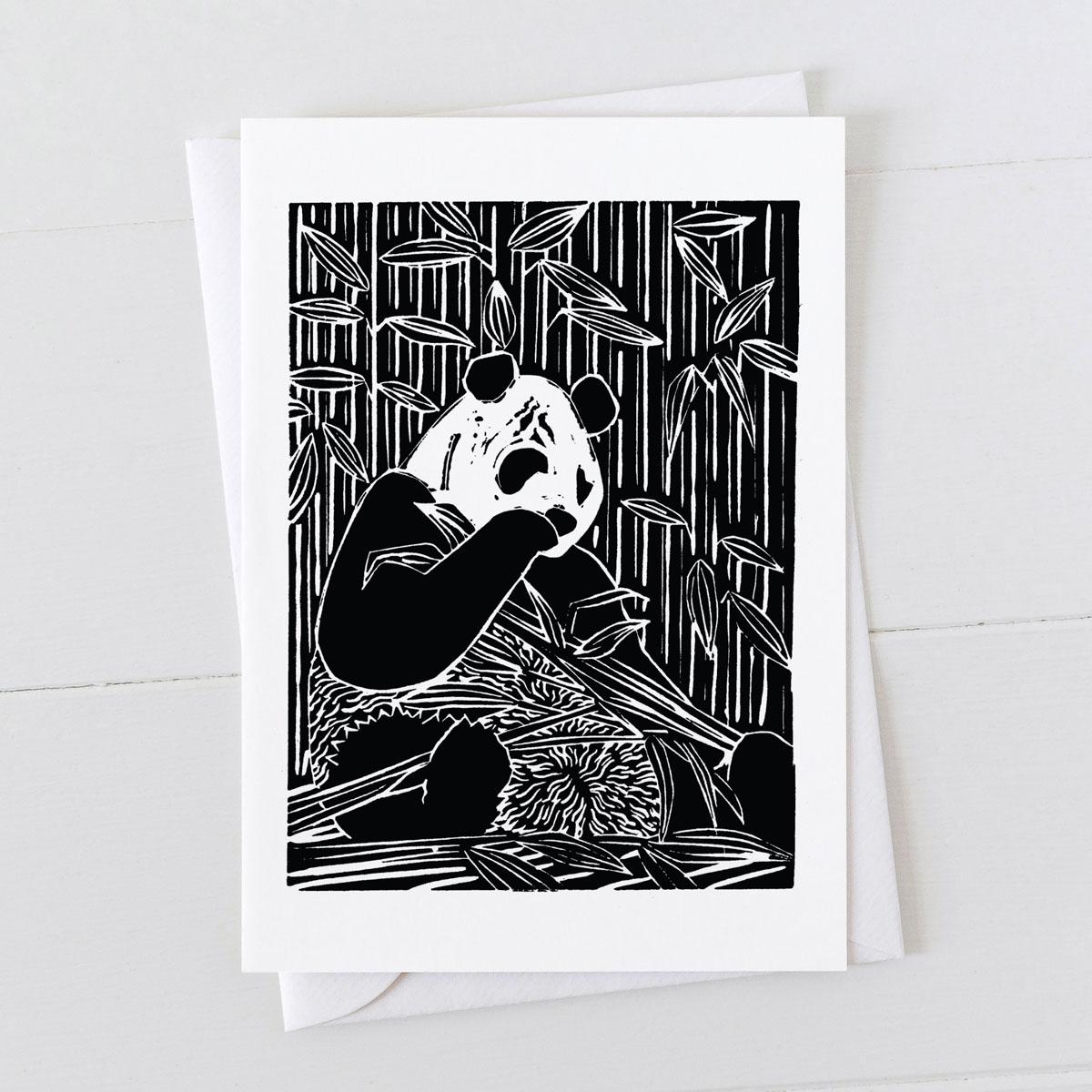 Panda Bear Linocut Greeting Card
