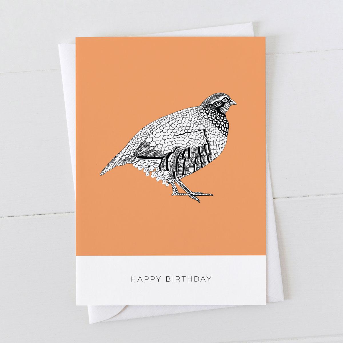 Partridge Bird Happy Birthday Illustration Greeting Card