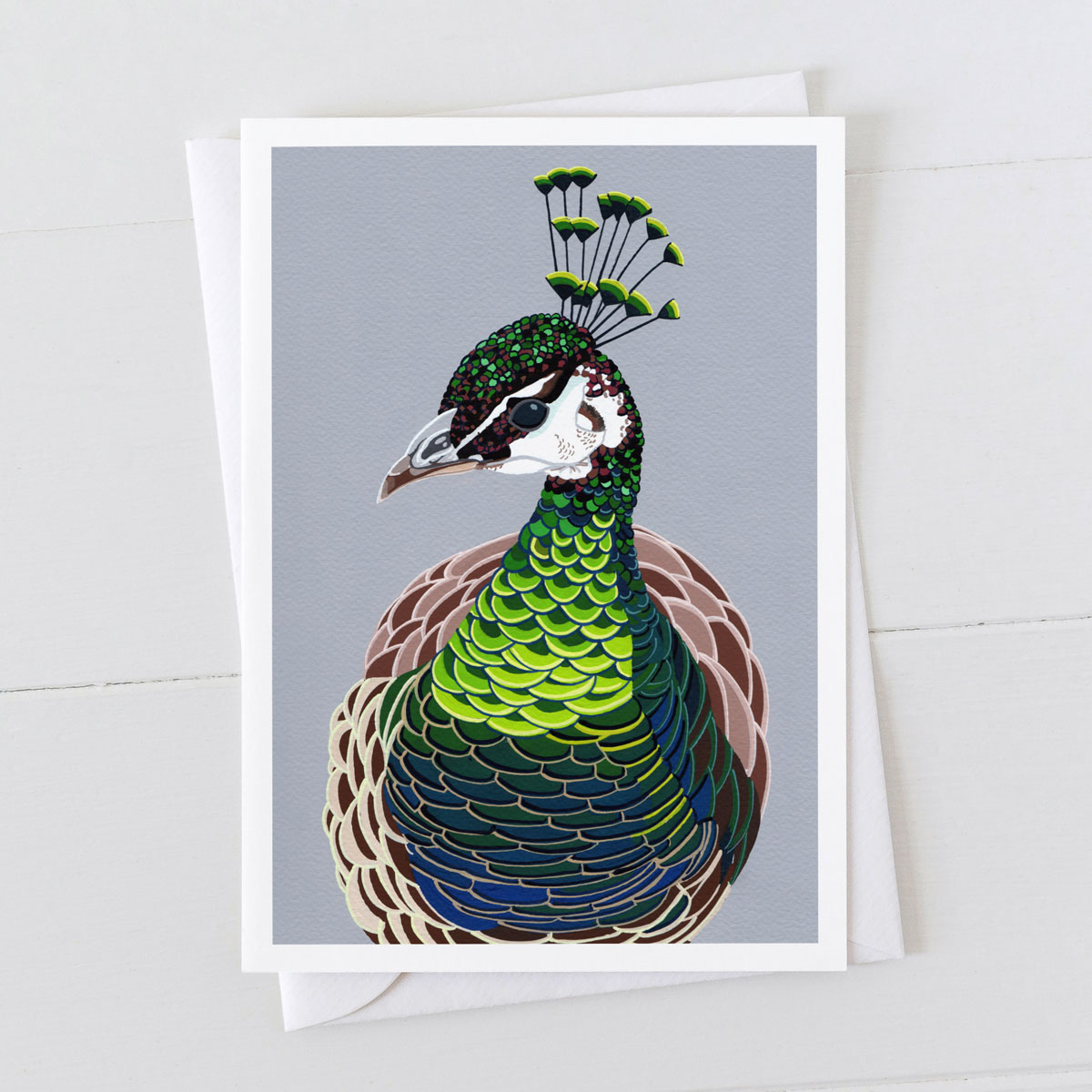 Peahen Head Greeting Card