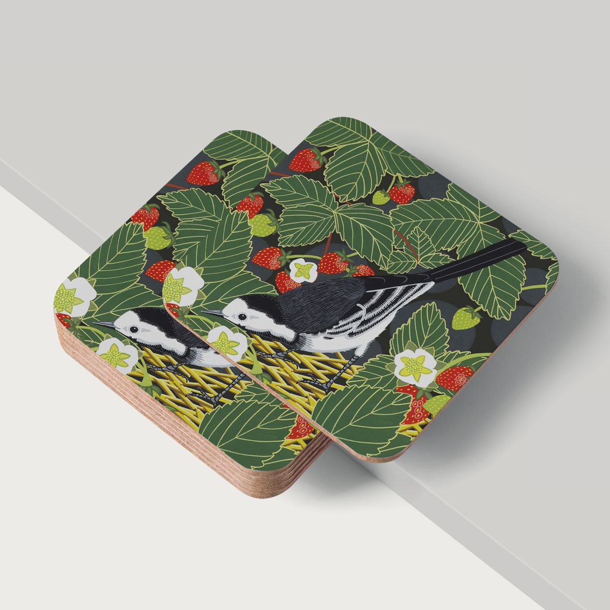 Pied Wagtail Bird Coaster