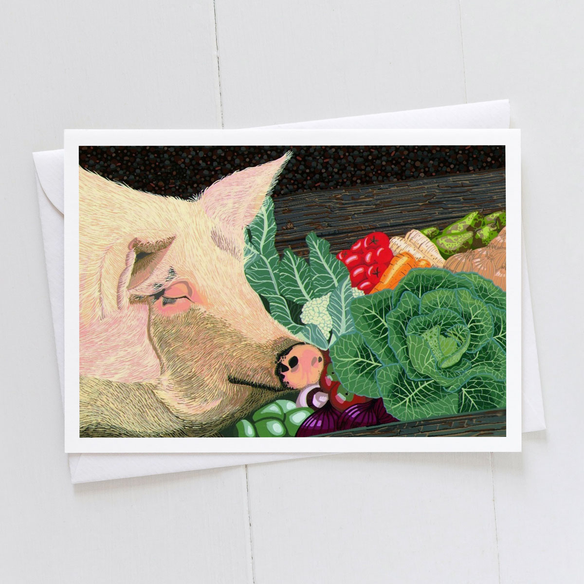 Pig In The Trough Greeting Card