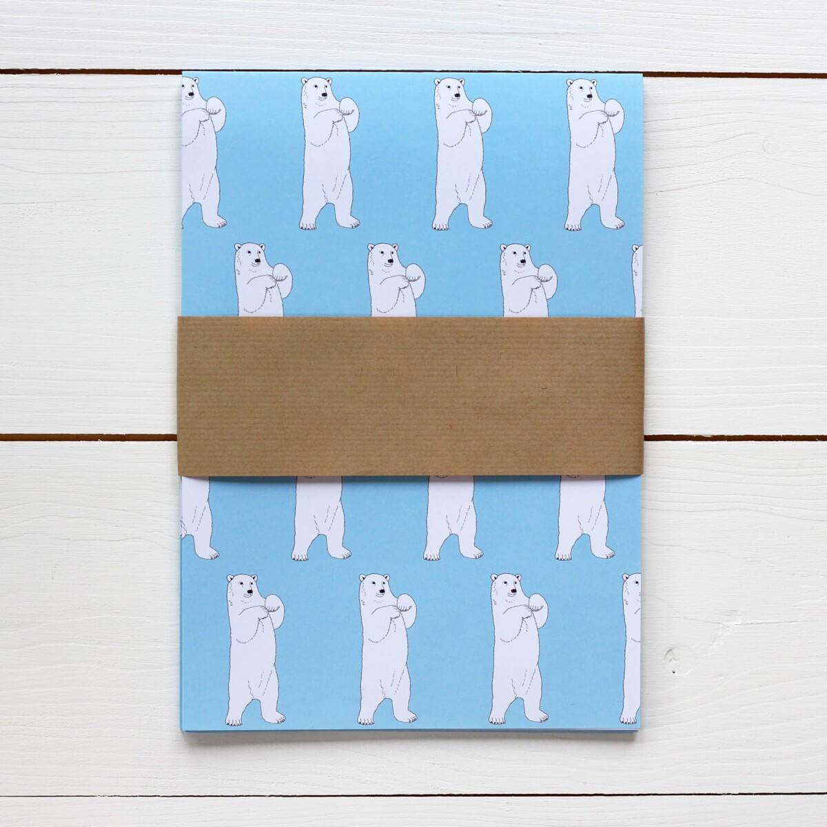 Polar Bear Print Gift Wrap by Bird the Artist