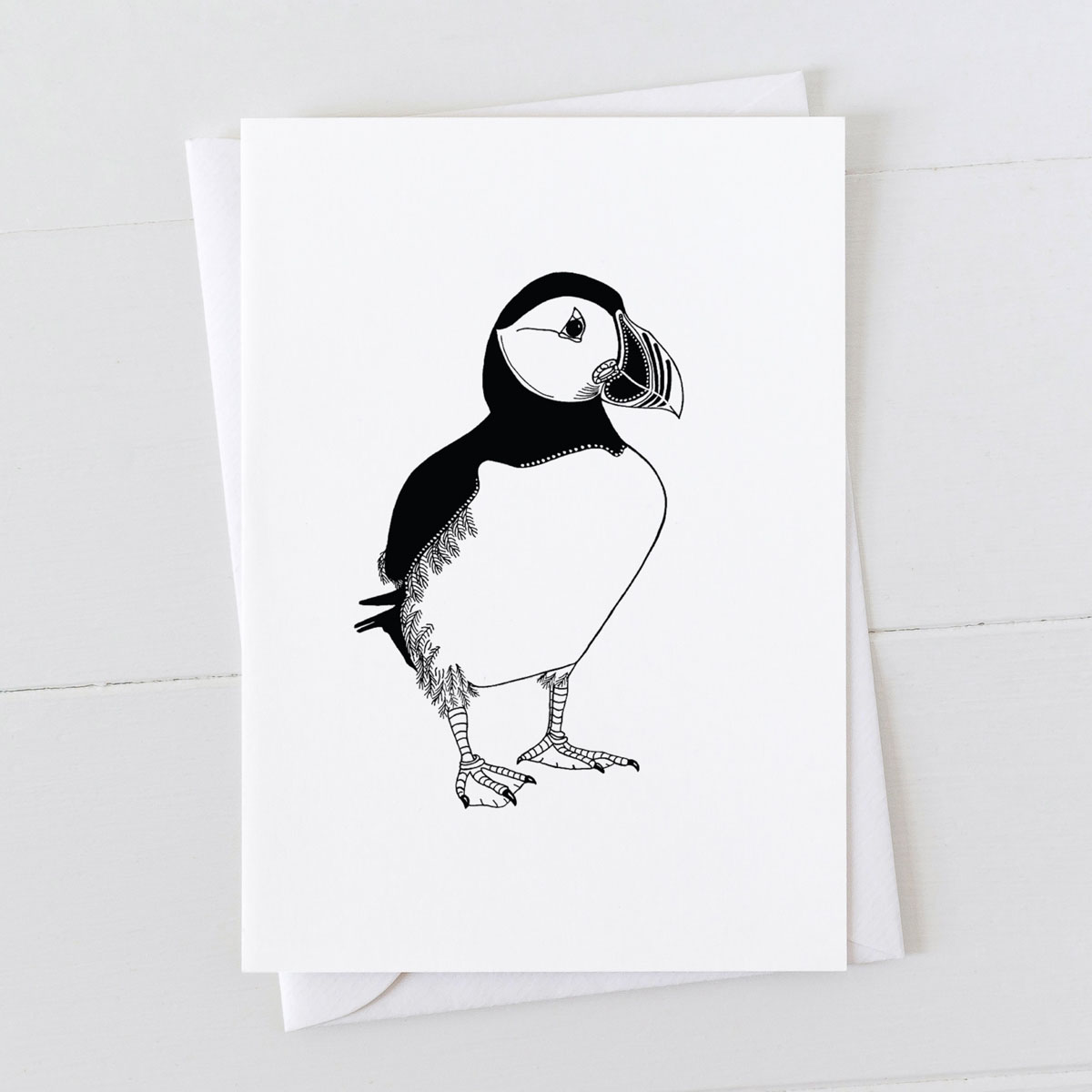 Puffin Pen And Ink Drawing Greeting Card