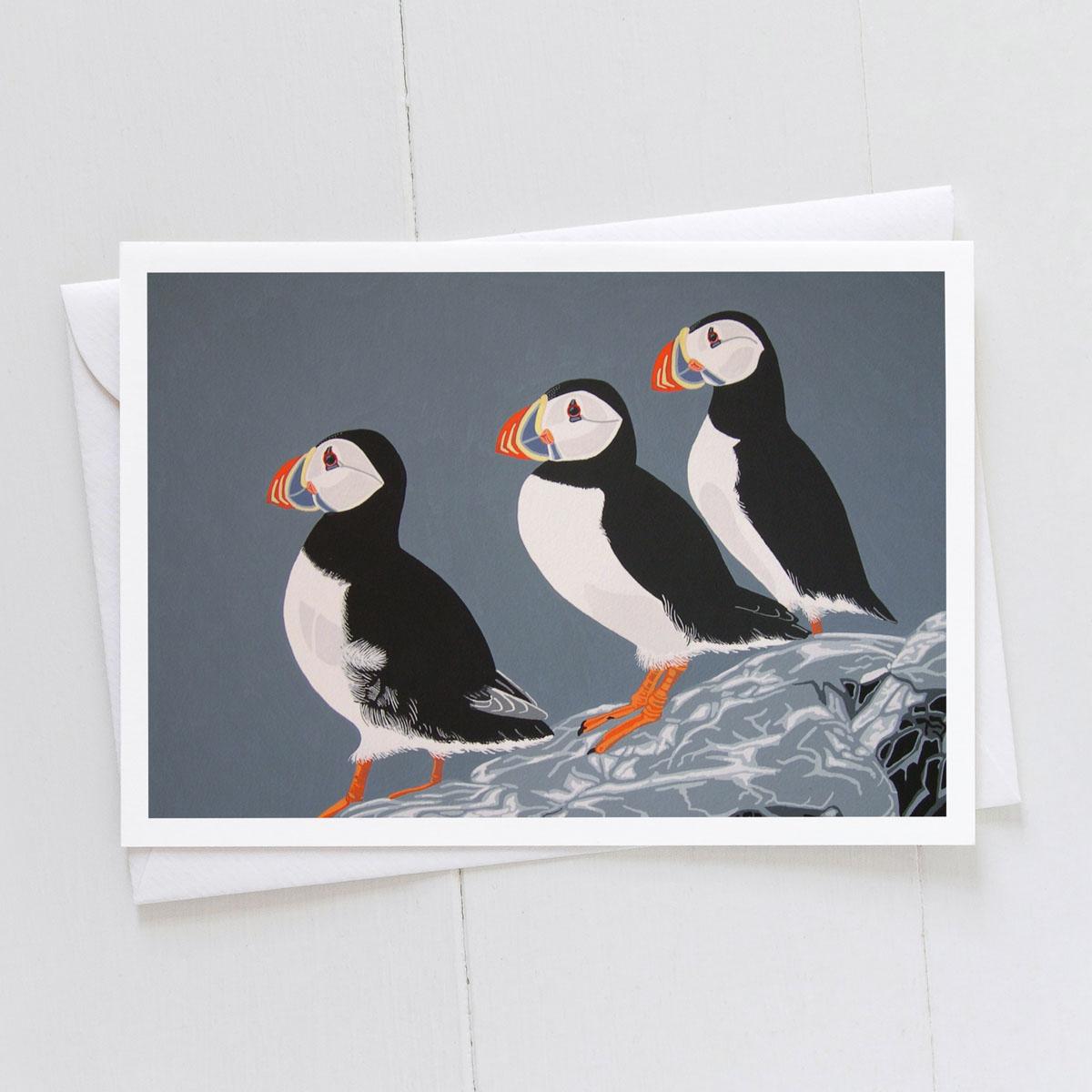 Puffin Trio Greeting Card