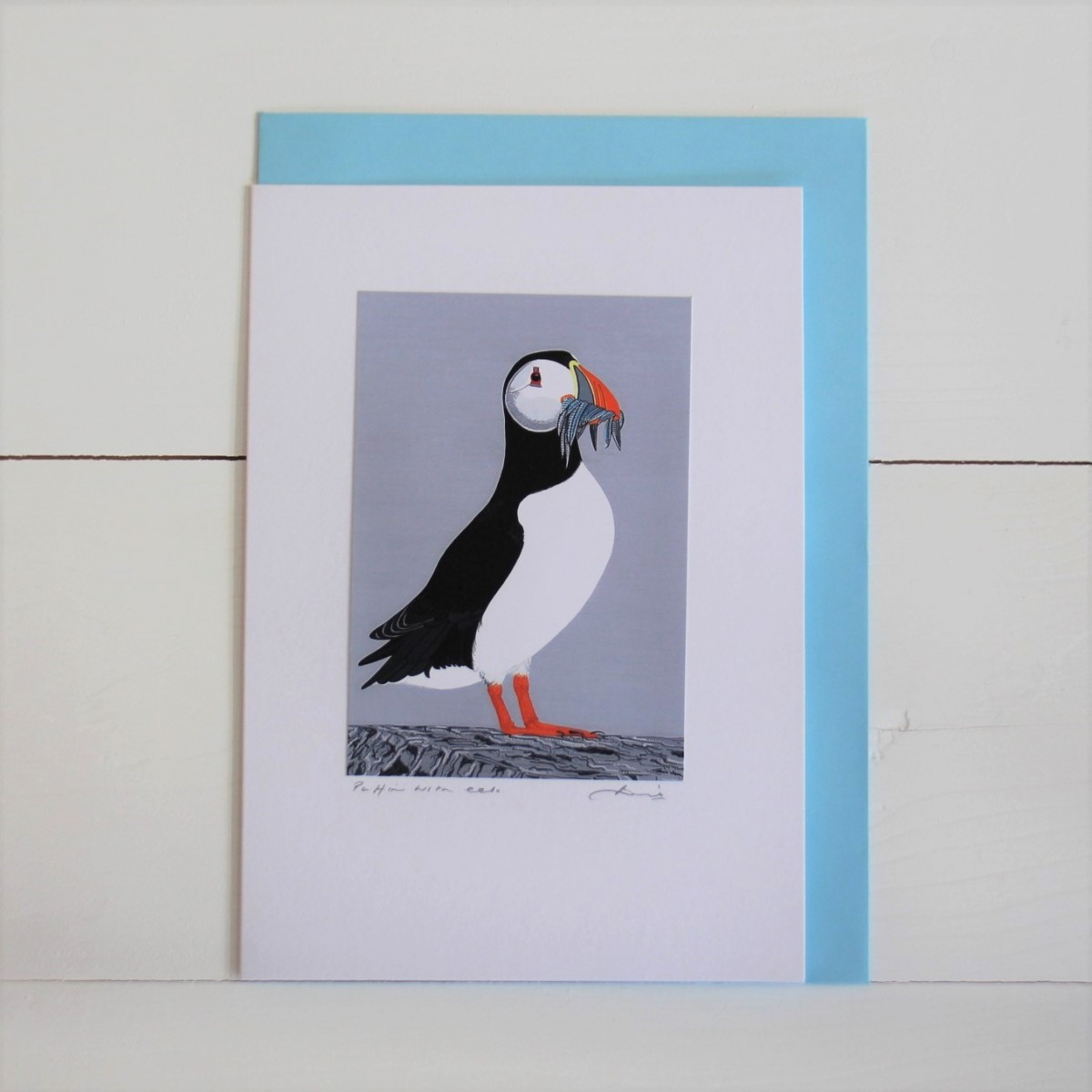 Puffin With Eels Puffins Bird Flower Handmade Hand Titled And Signed Greeting Card A5