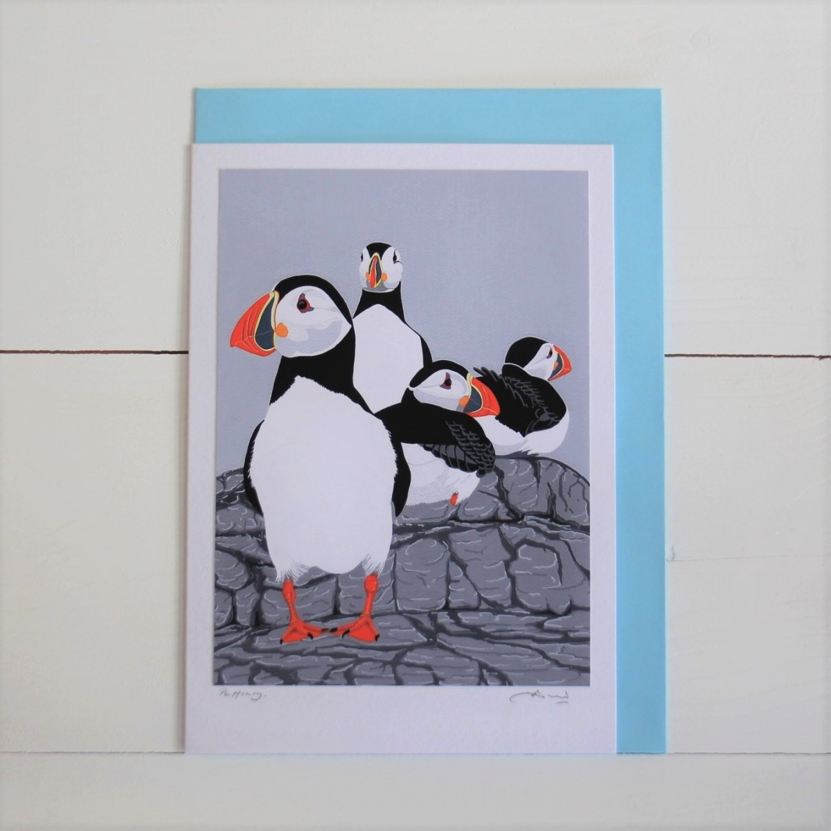 Puffinry Puffins Bird Flower Handmade Hand Titled And Signed Greeting Card A5