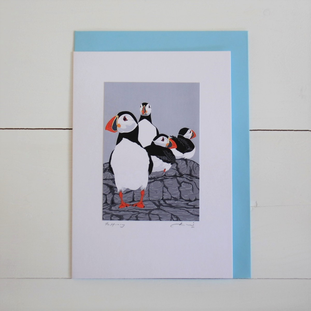 Puffins Bird Flower Handmade Hand Titled And Signed Greeting Card A5