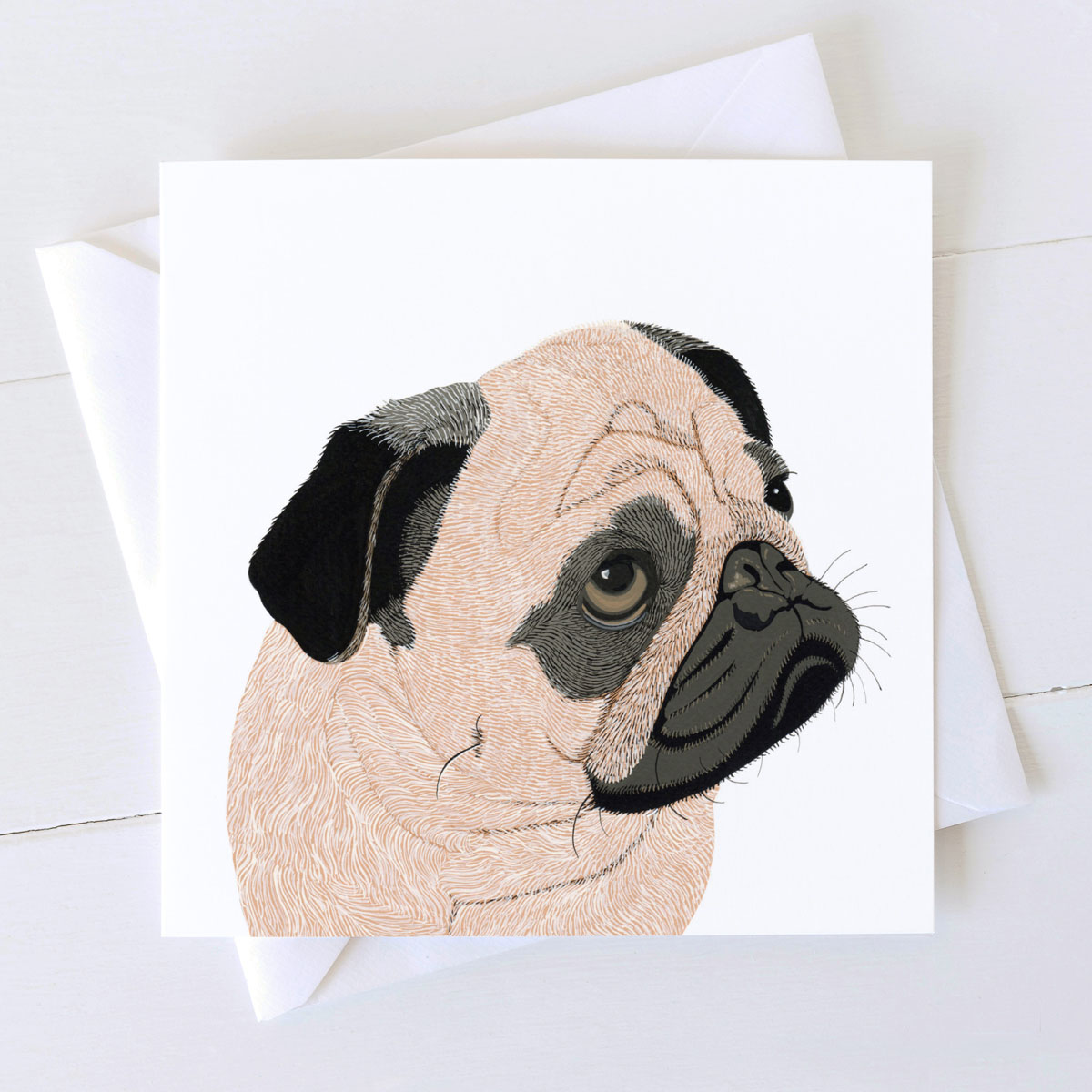 Pug Dog Square Greeting Card