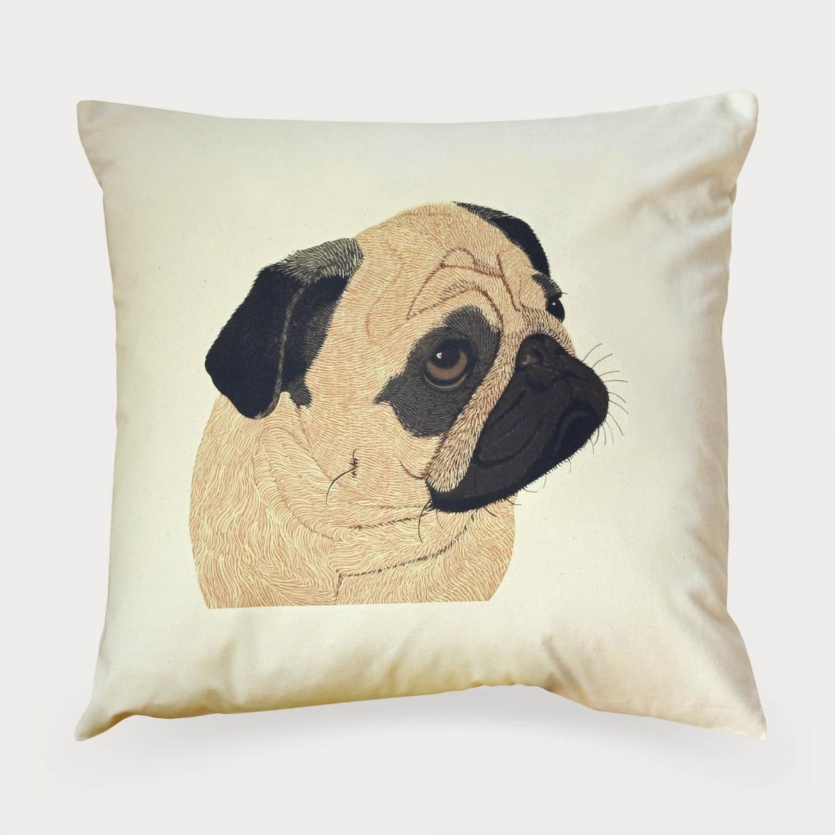 Pug Dog Print Cushion Cover