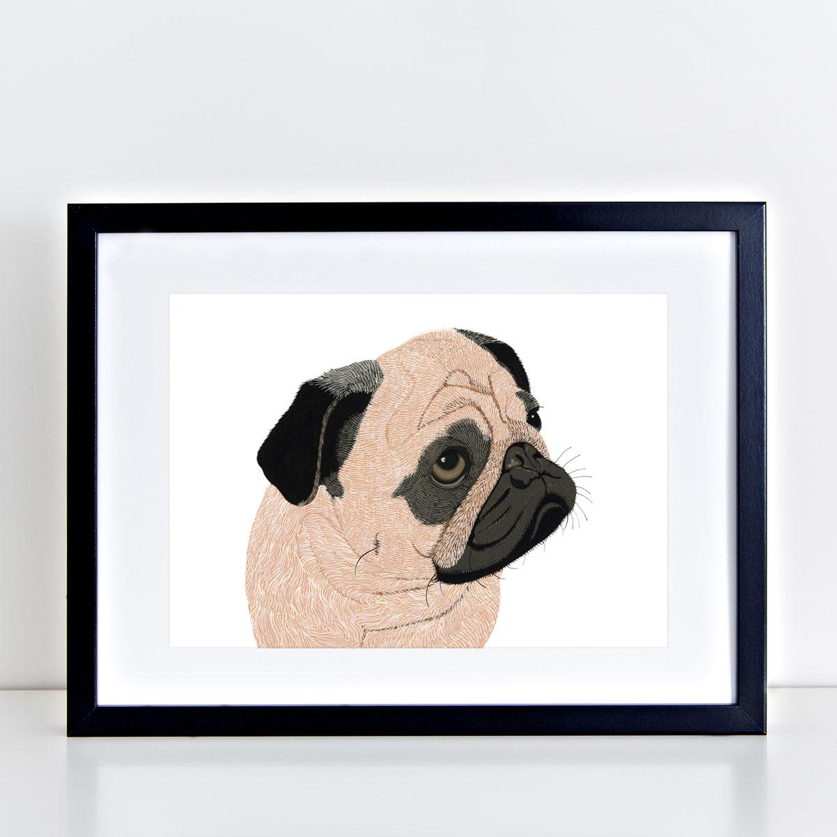 Pug Dog Art Print By Bird The Artist