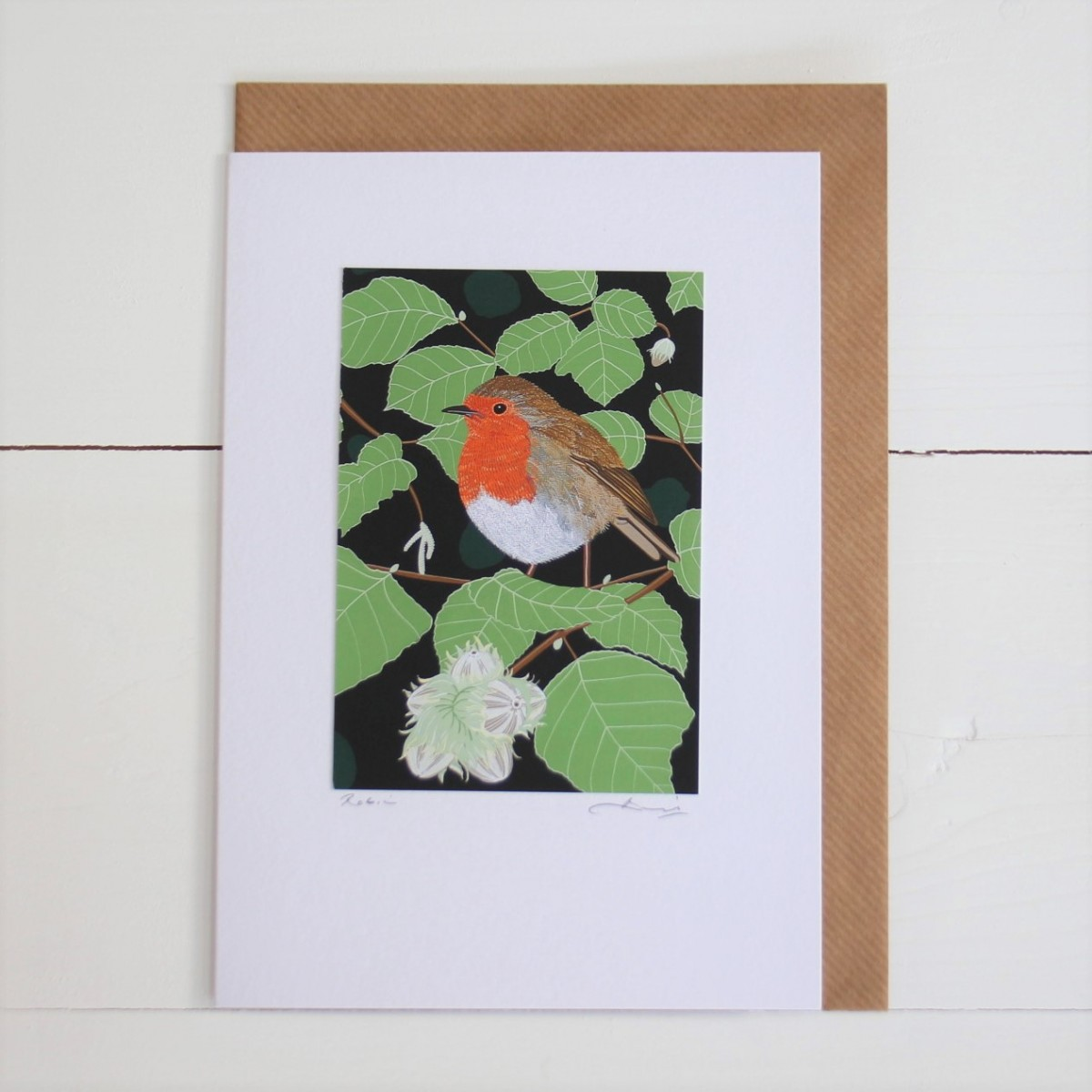 Robin Bird Flower Handmade Hand Titled And Signed Greeting Card A5