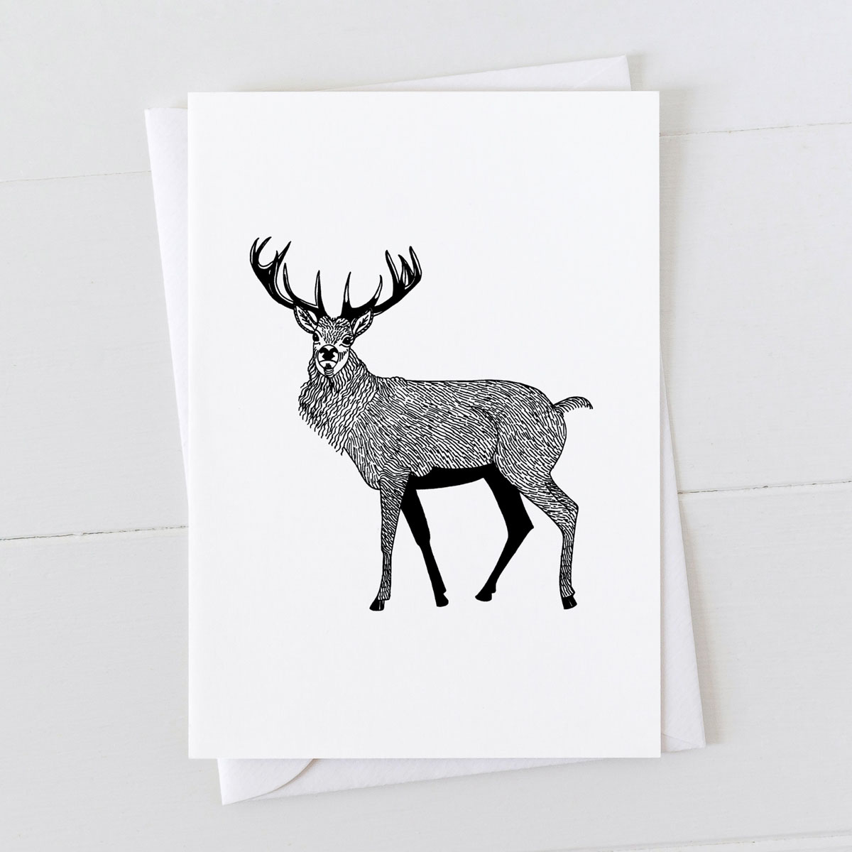 Red Stag Pen And Ink Drawing Greeting Card