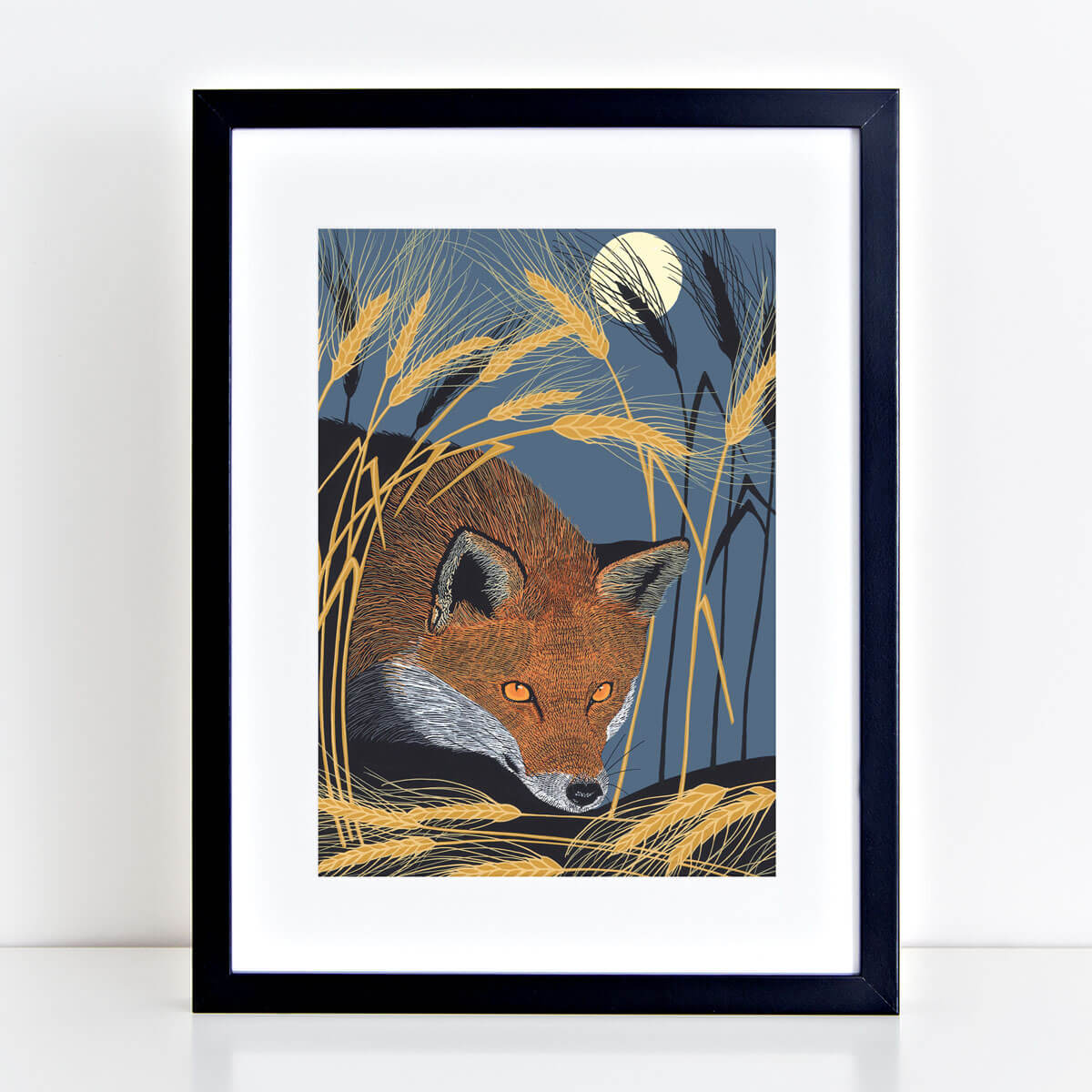 Red Fox Nocturnal Animal Art Print Mounted And Framed