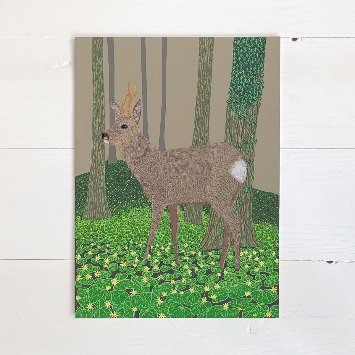 Roe Deer Original Gouache Painting