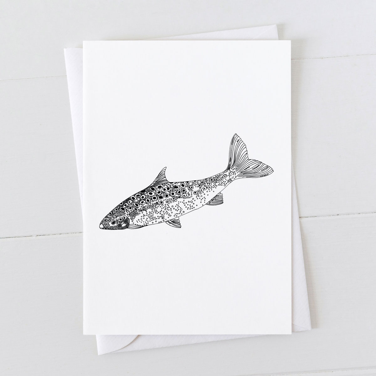 Salmon Pen And Ink Drawing Greeting Card