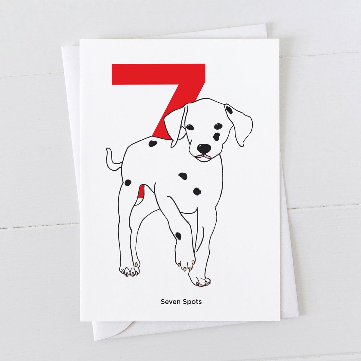Age Seven Dalmatian Spot Greeting Card