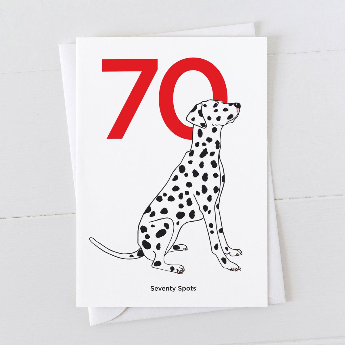 Age Seventy Dalmatian Spot Greeting Card