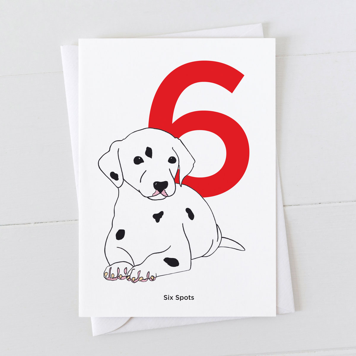 Age Six Dalmatian Spot Greeting Card
