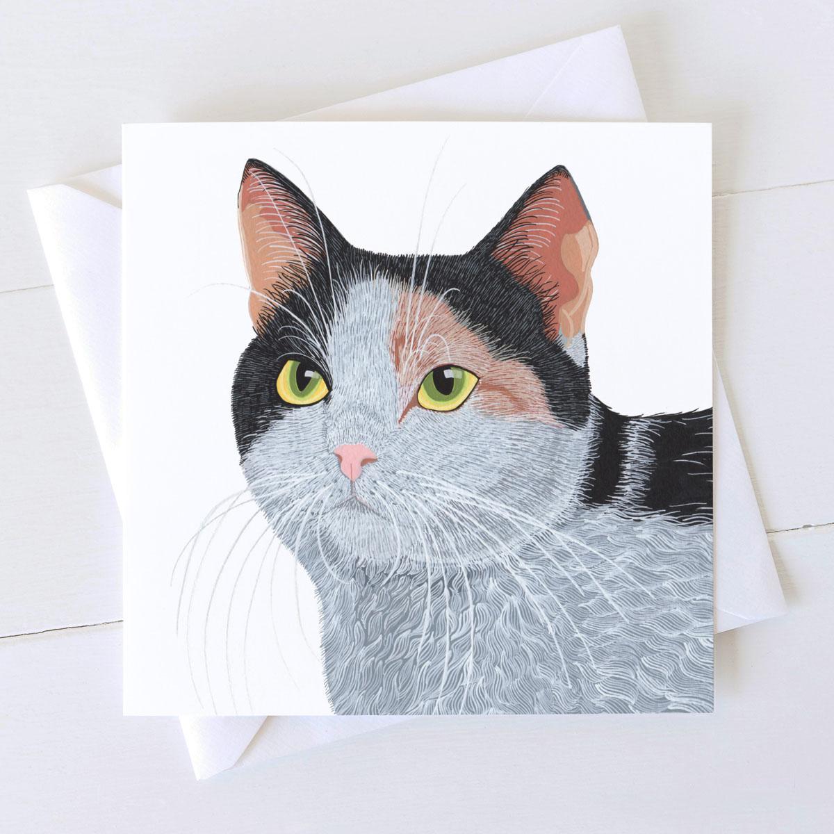 Smartie tri coloured cat square card