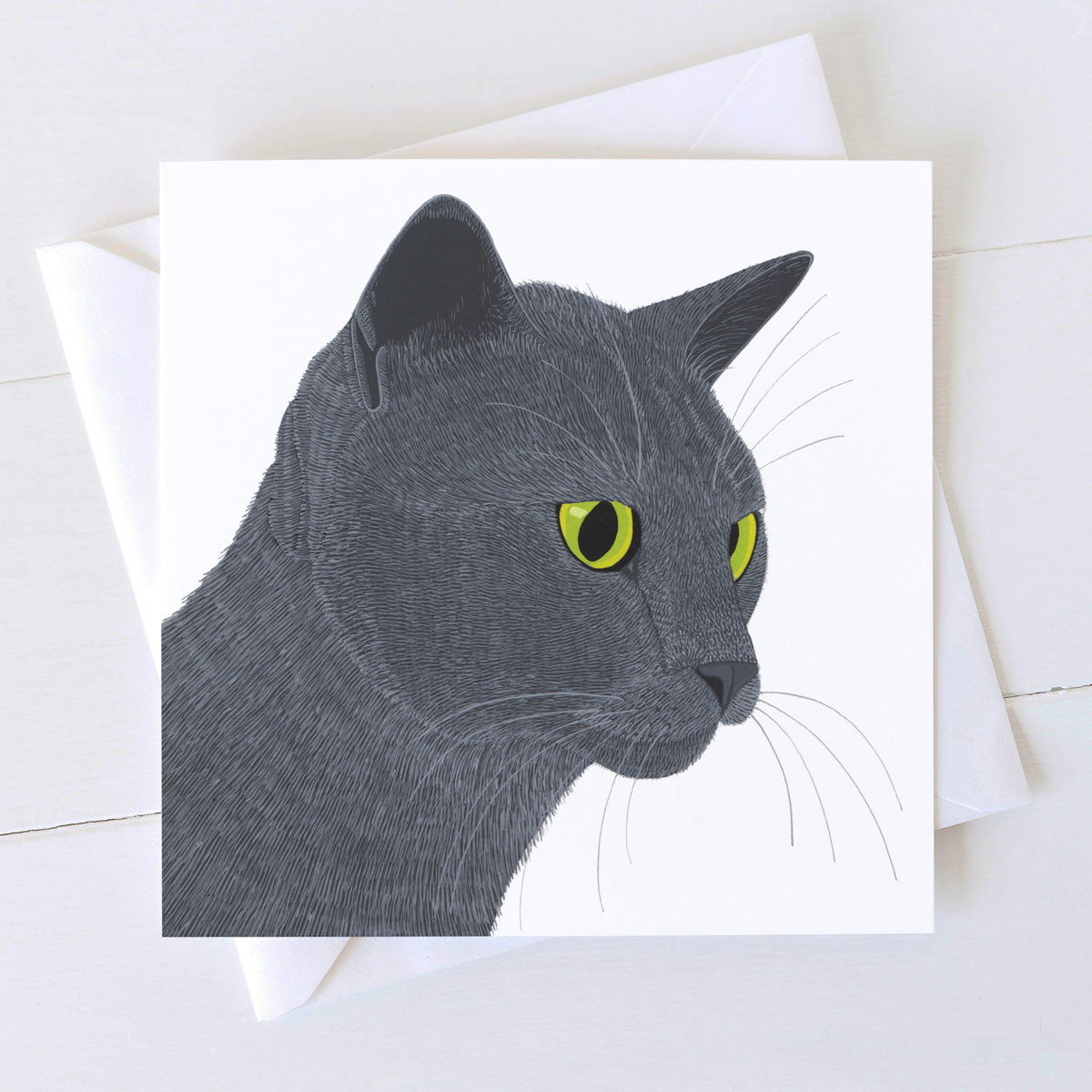 Smokey grey cat square greeting card