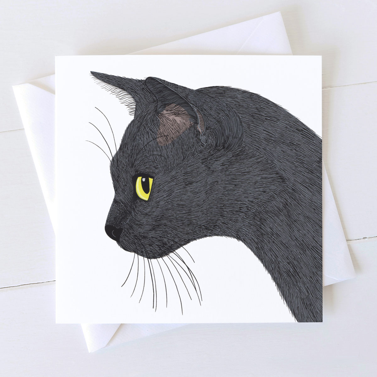 Sooty Black Cat Square Card