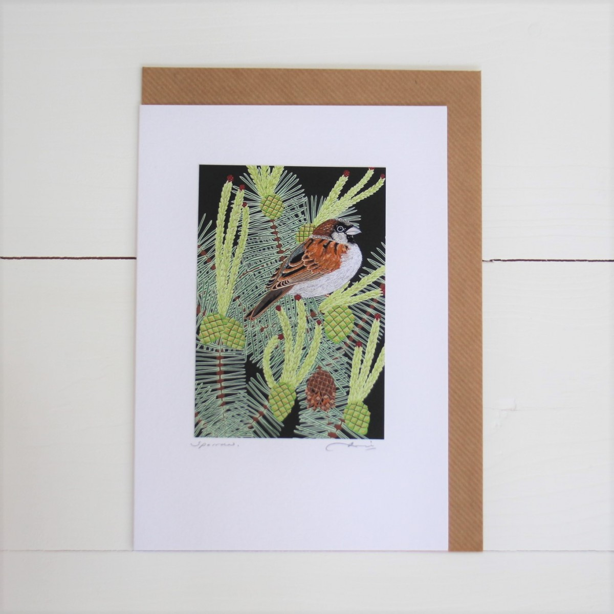 Sparrow Bird Flower Handmade Hand Titled And Signed Greeting Card A5