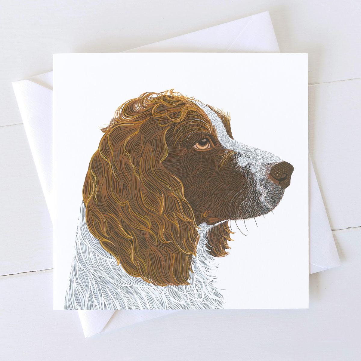 Springer Spaniel Dog Square Greeting Card
