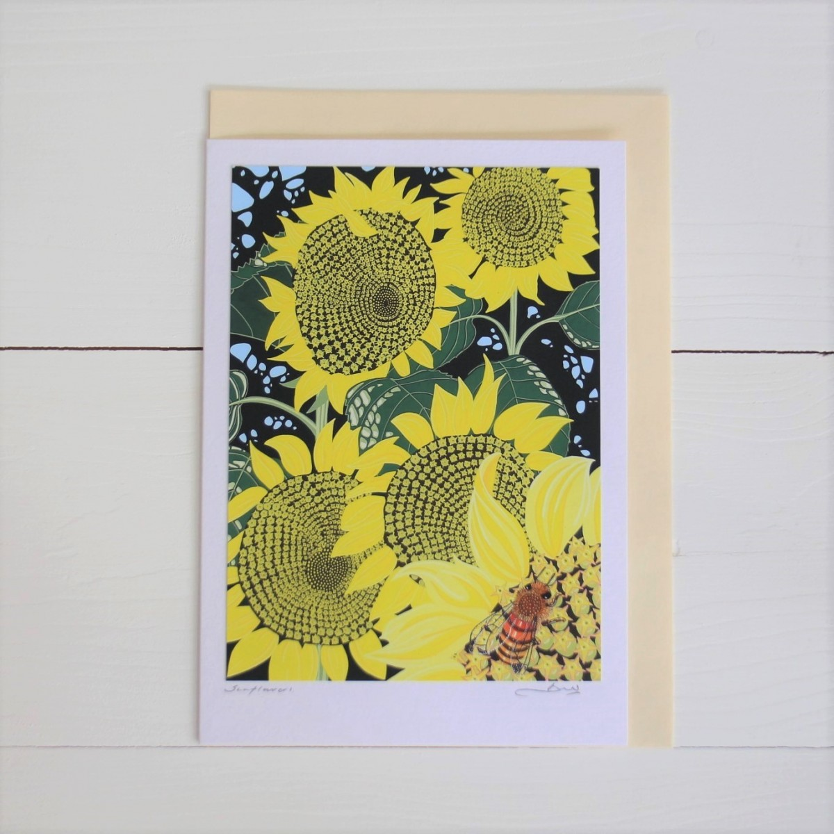 Sunflowers Flower Handmade Hand Titled And Signed Greeting Card A5
