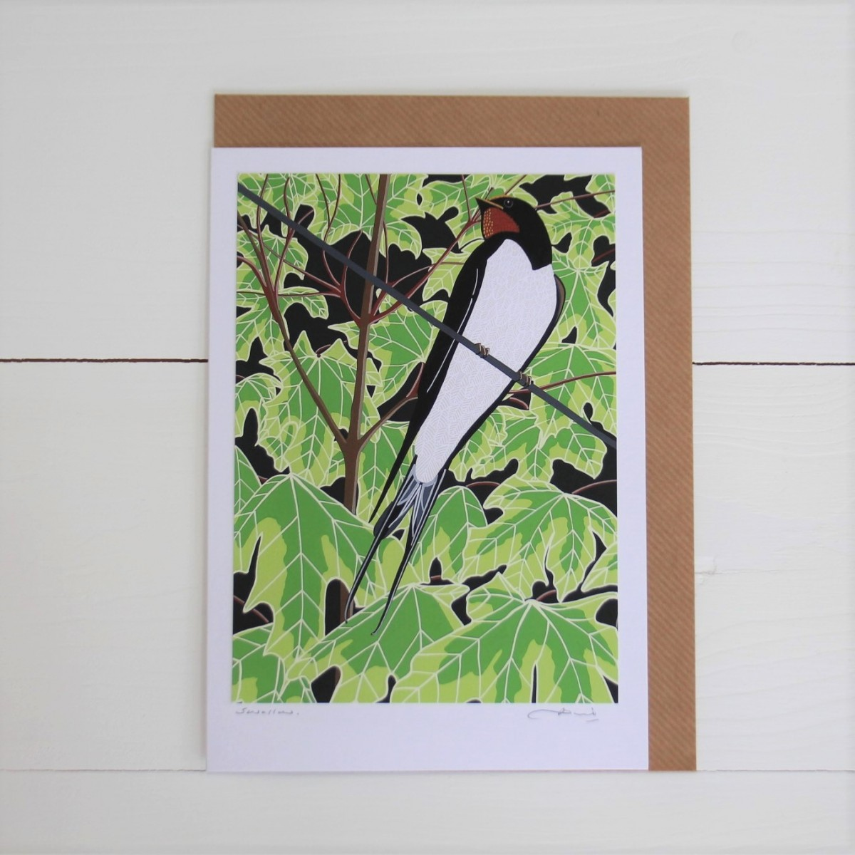 Swallow Bird Flower Handmade Hand Titled And Signed Greeting Card A5