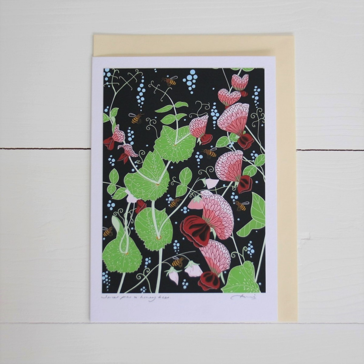 Sweet Peas And Honey Bees Flower Handmade Hand Titled And Signed Greeting Card A5