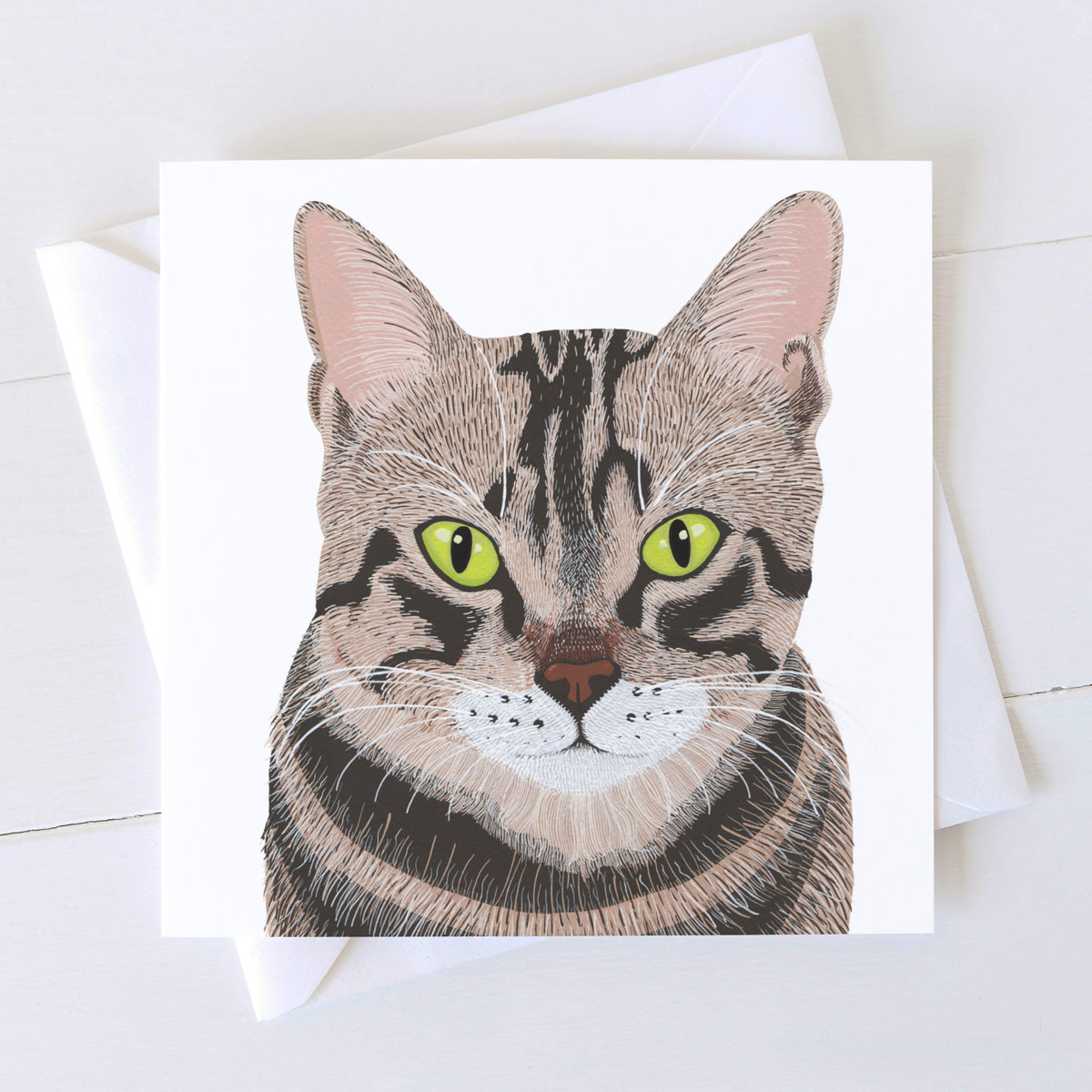 Tabby Cat Square Greeting Card