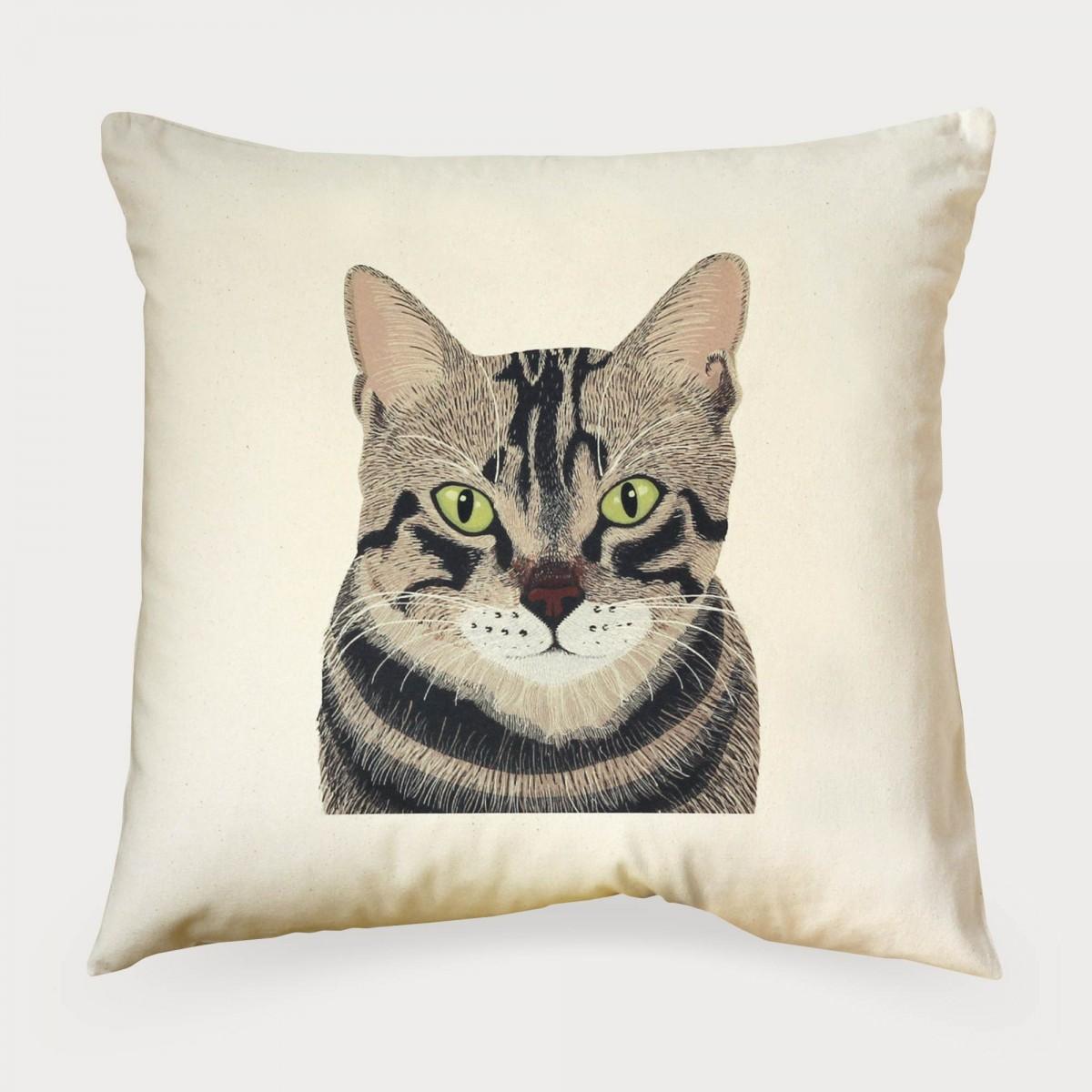 Tabby Cat Print Cushion Cover