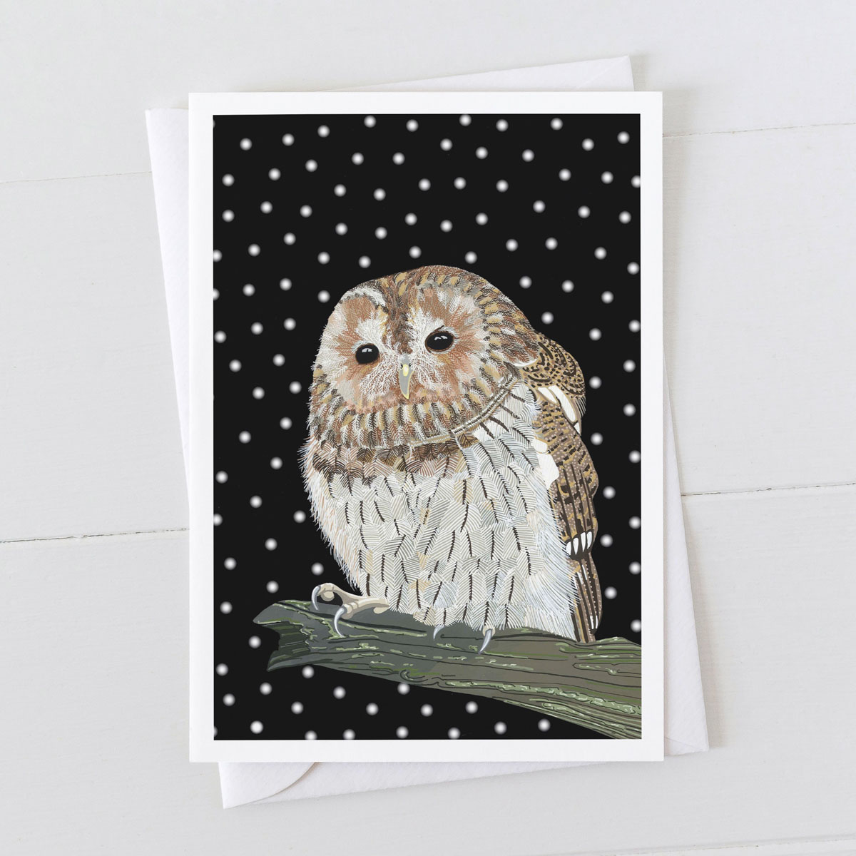 Tawny Owl Bird in Snow Christmas Greeting Card