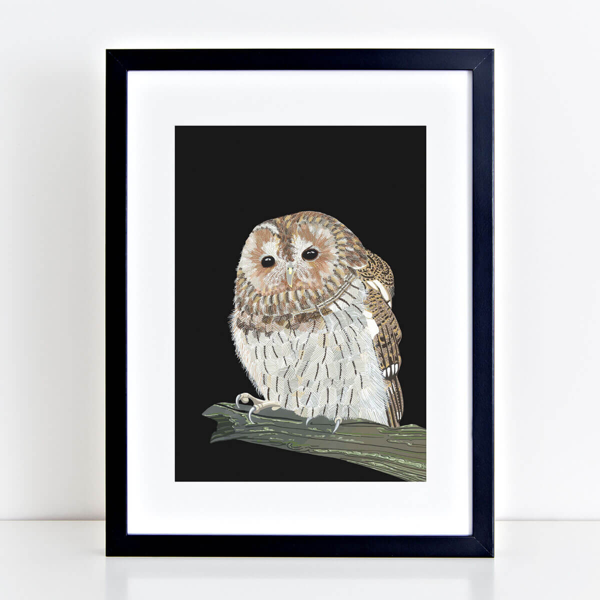 Tawny Owl Print Mounted And Framed By Bird The Artist