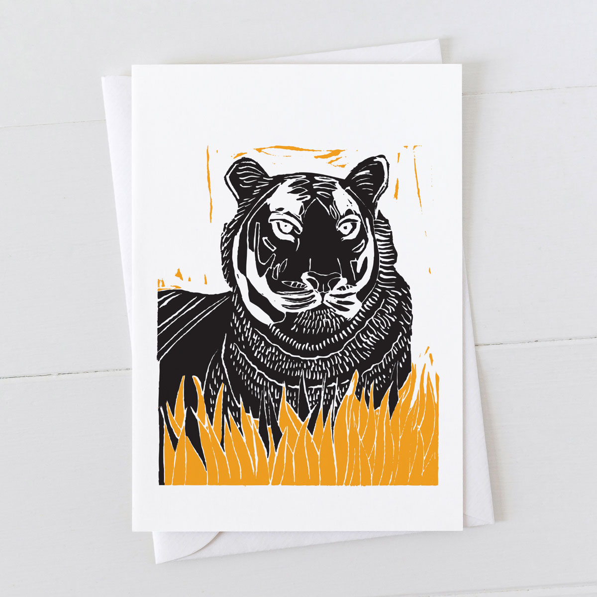 Tiger Colour Linocut Greeting Card