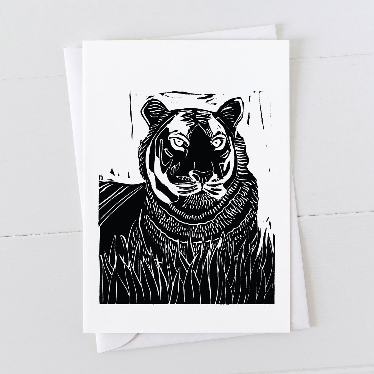 Tiger Linocut Greeting Card