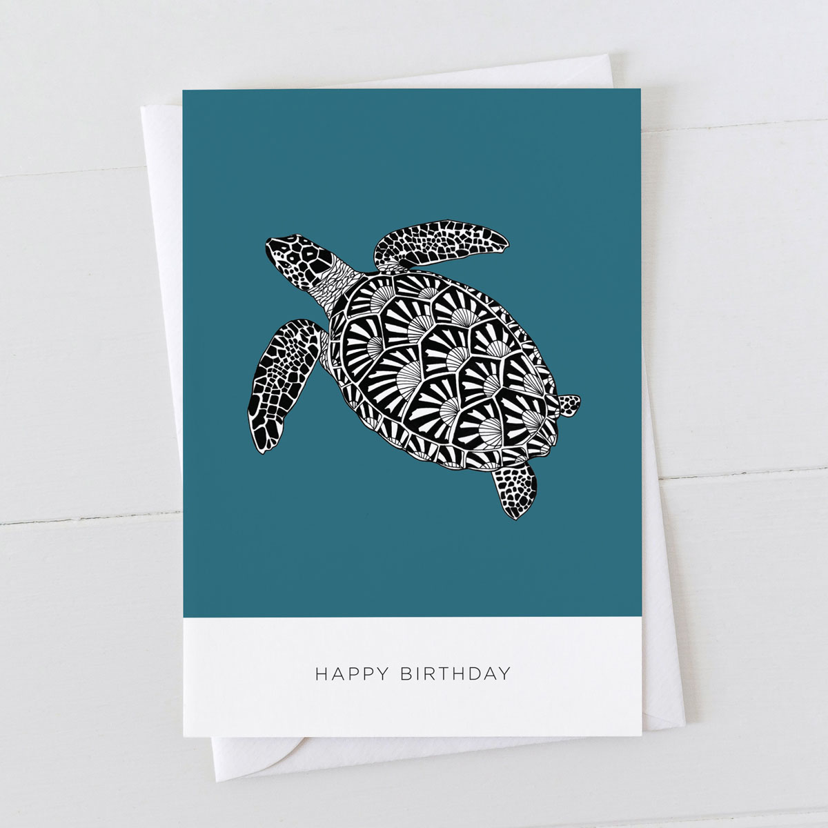 Turtle Happy Birthday Illustration Greeting Card