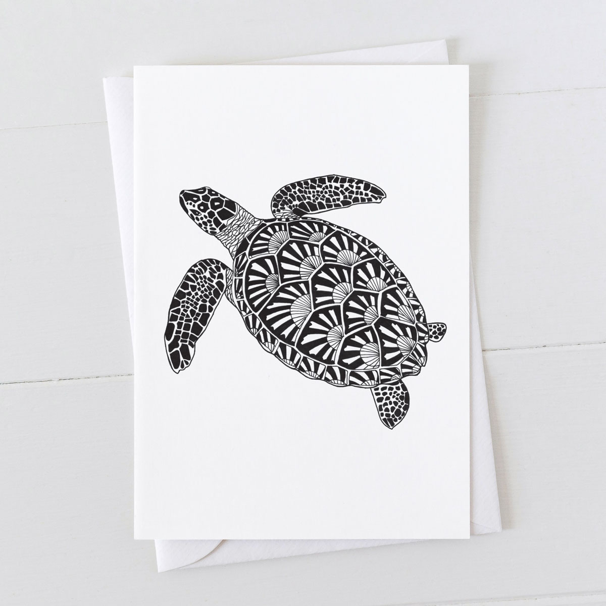 Turtle Pen And Ink Drawing Greeting Card