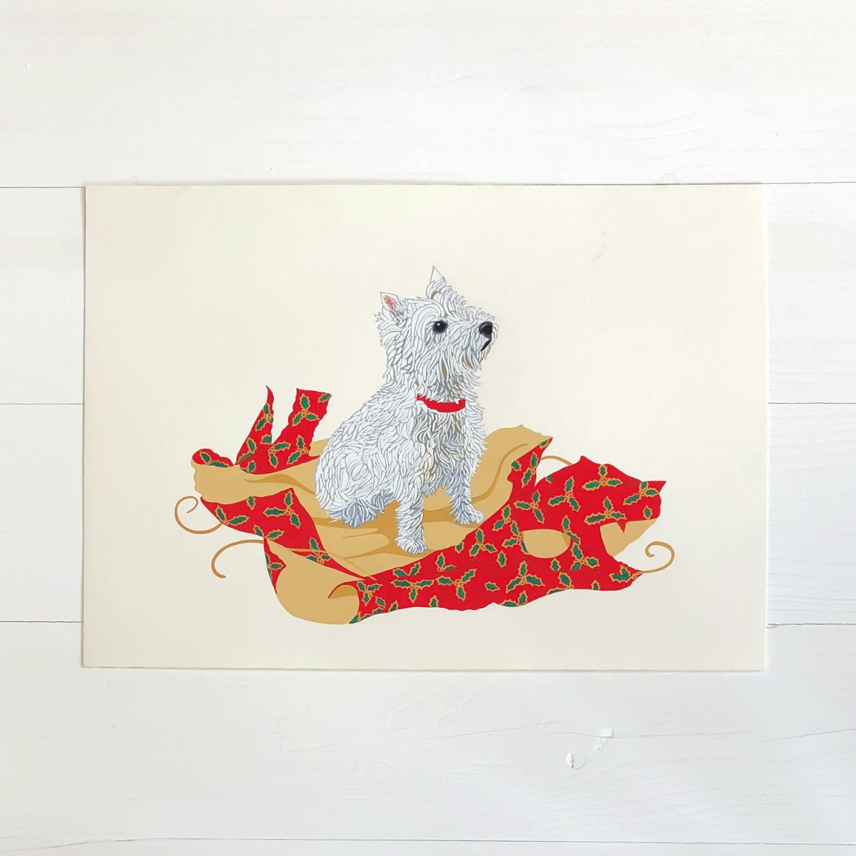 Christmas Westie West Highland Terrier Dog Original Gouache Painting By Bird