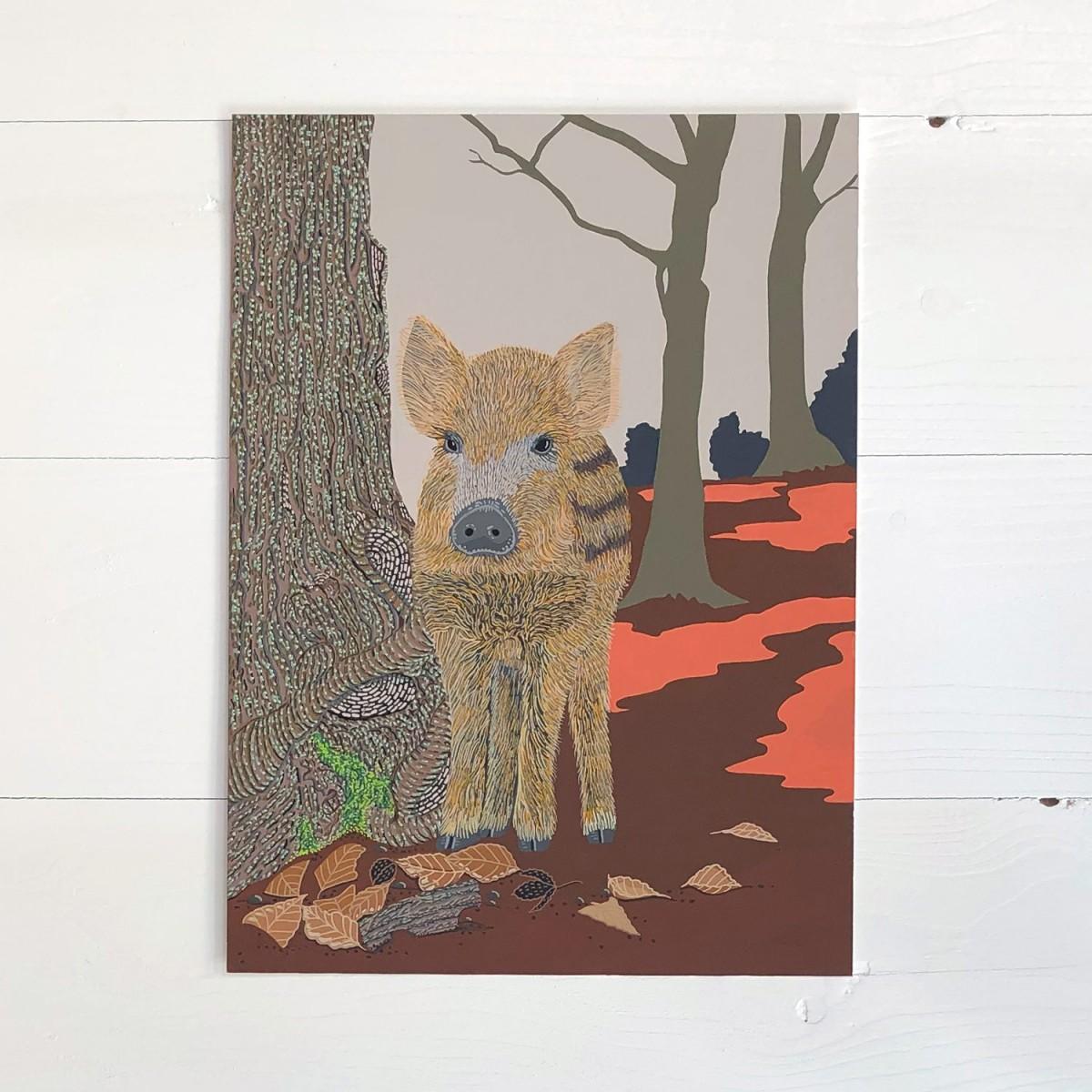 Wild Boar Original Gouache Painting By Bird The Artist