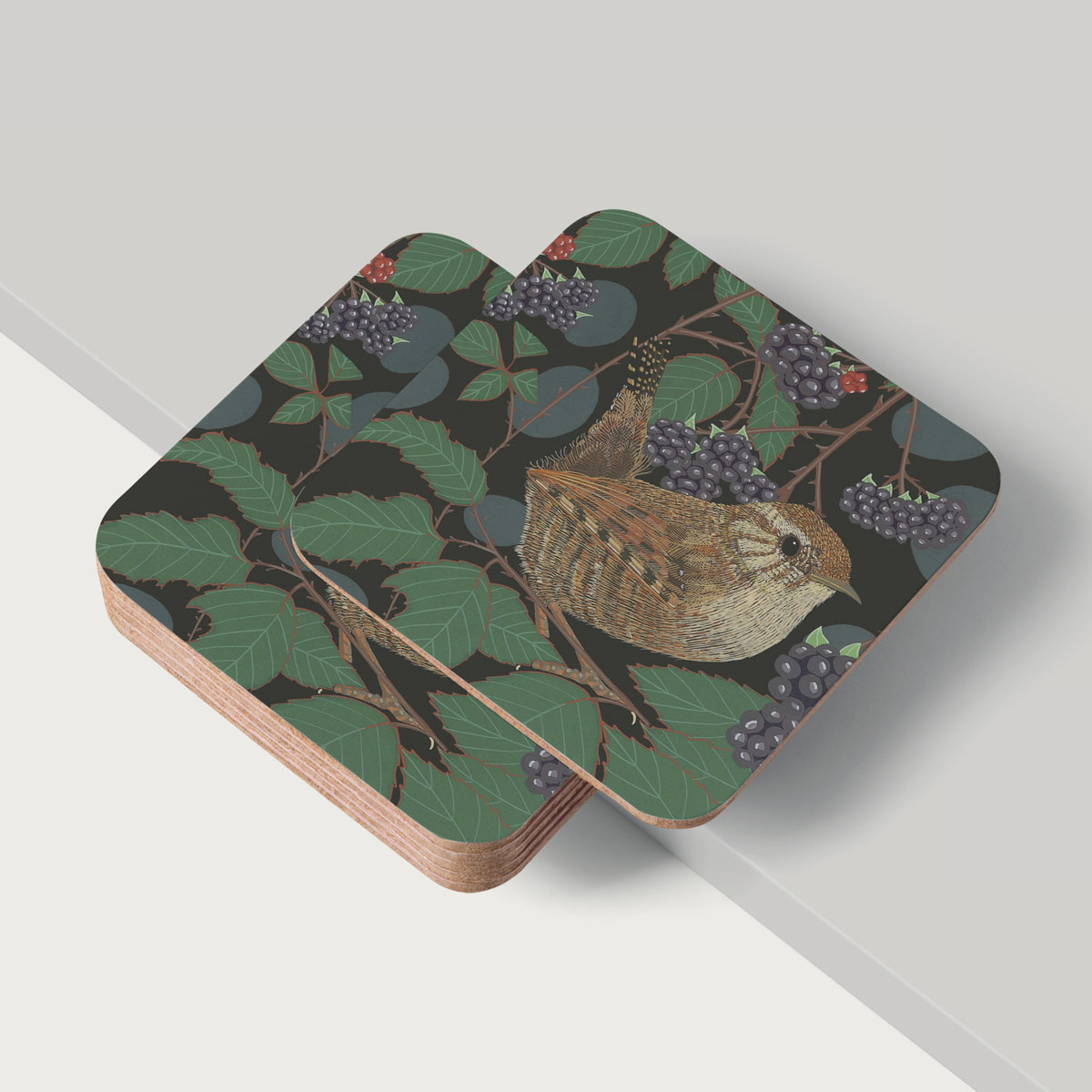 Wren Tit Bird Placemat And Coaster Tableware