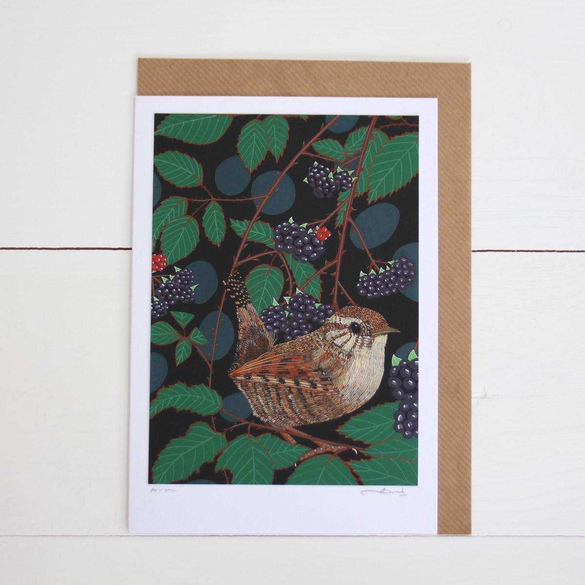 Wren Bird Flower Handmade Hand Titled And Signed Greeting Card A5