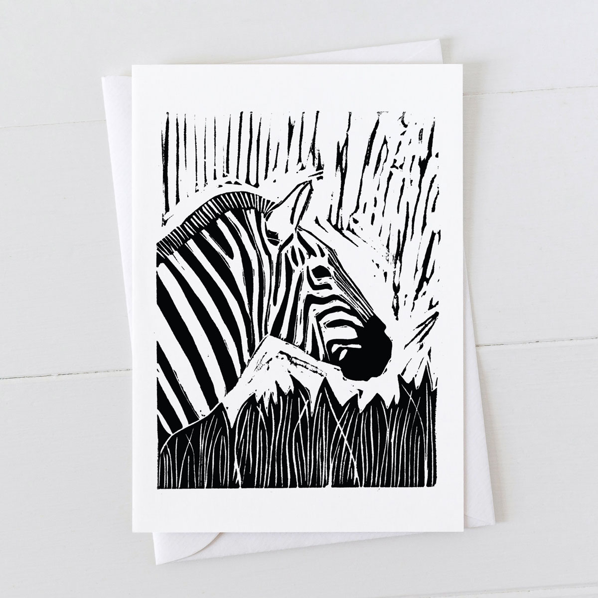 Zebra Linocut Greeting Card