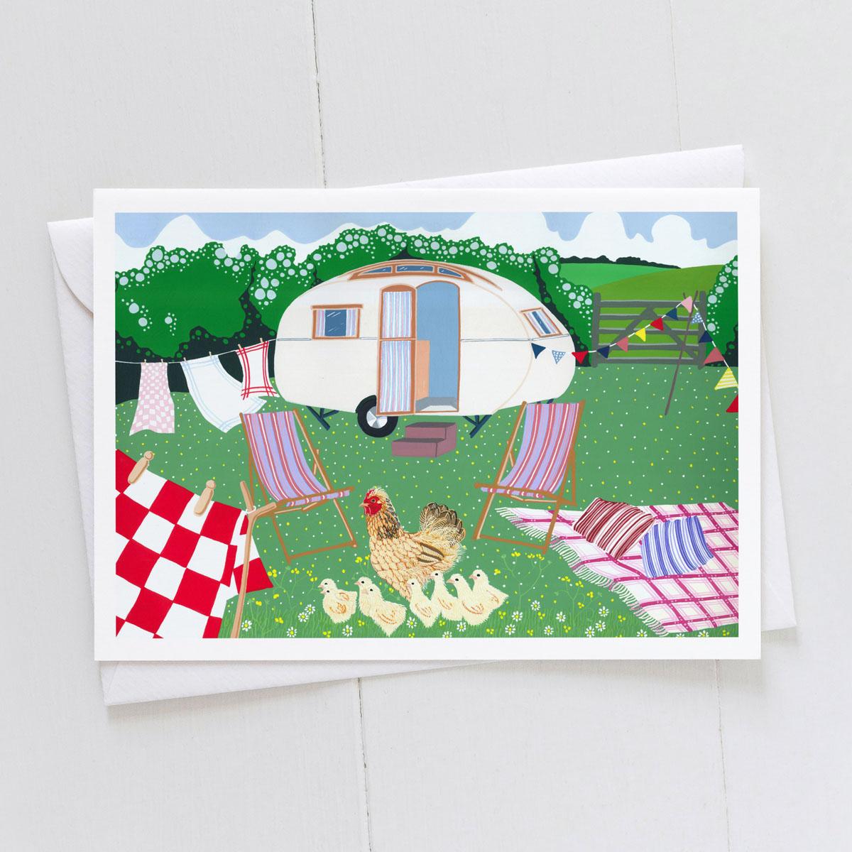 Farm Holiday Caravan Greeting Card