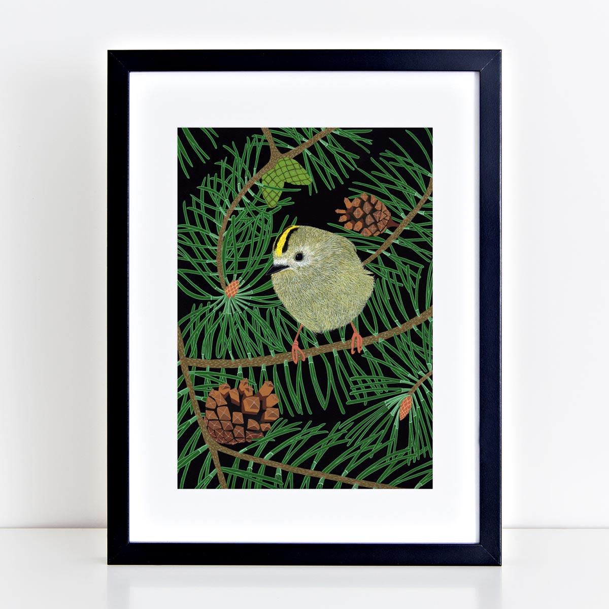 Gold Crest Art Print by Bird the Artist