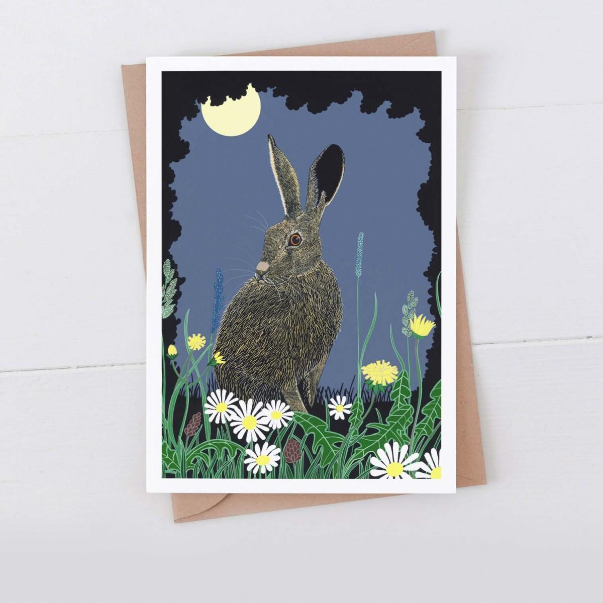 Night hare 7x5 greeting card
