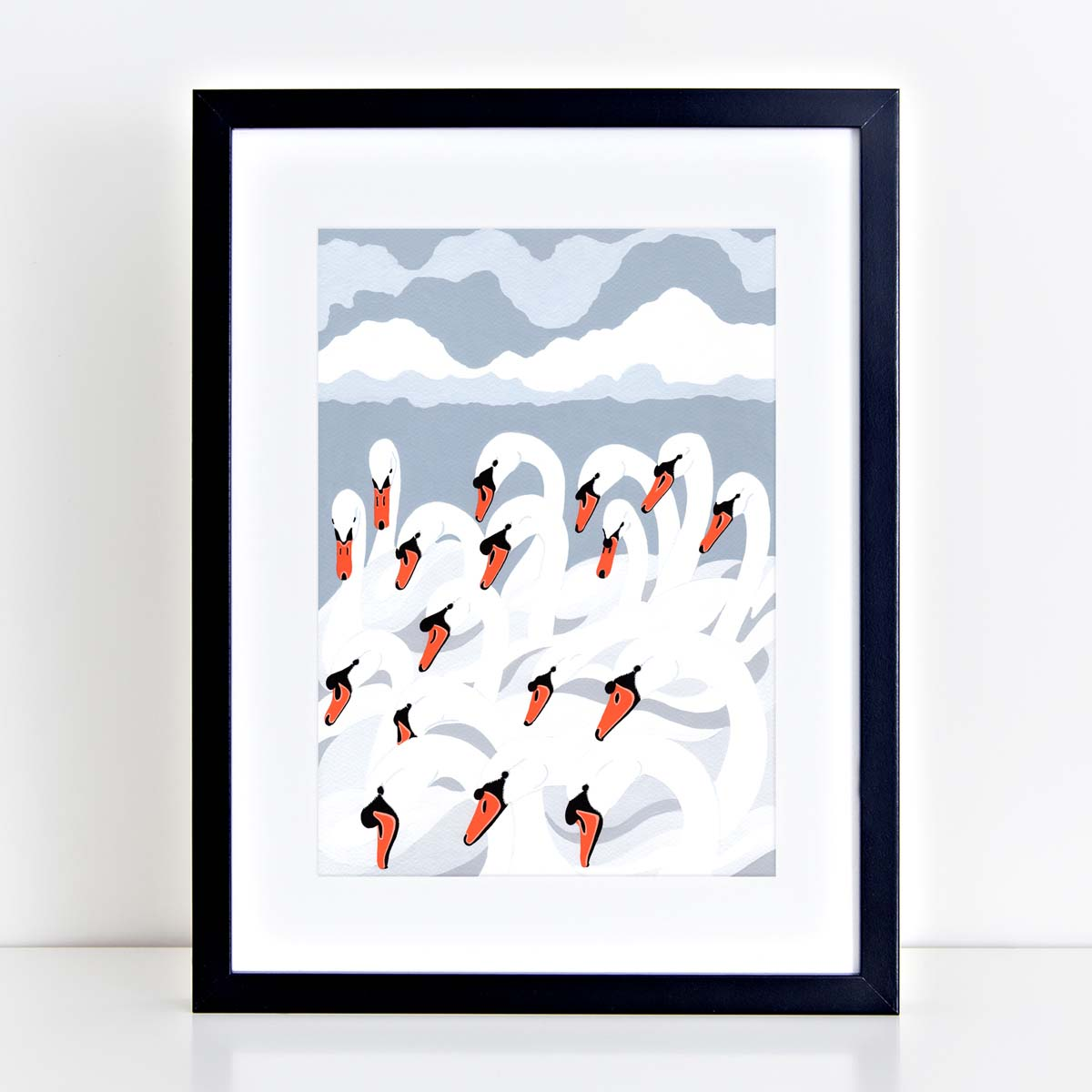 A bank of swans painting by bird