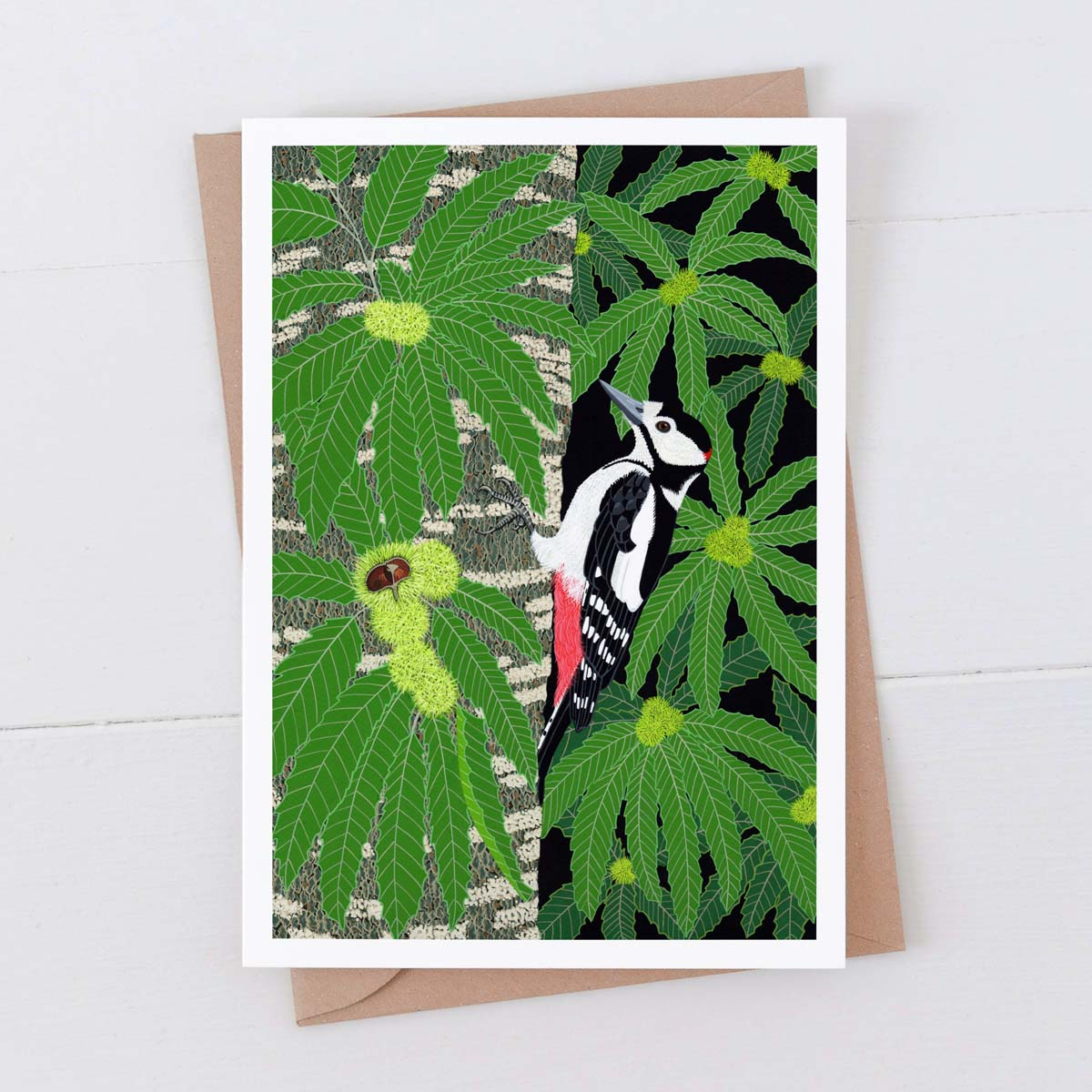 Great Spotted Woodpecker Greeting Card 7X5