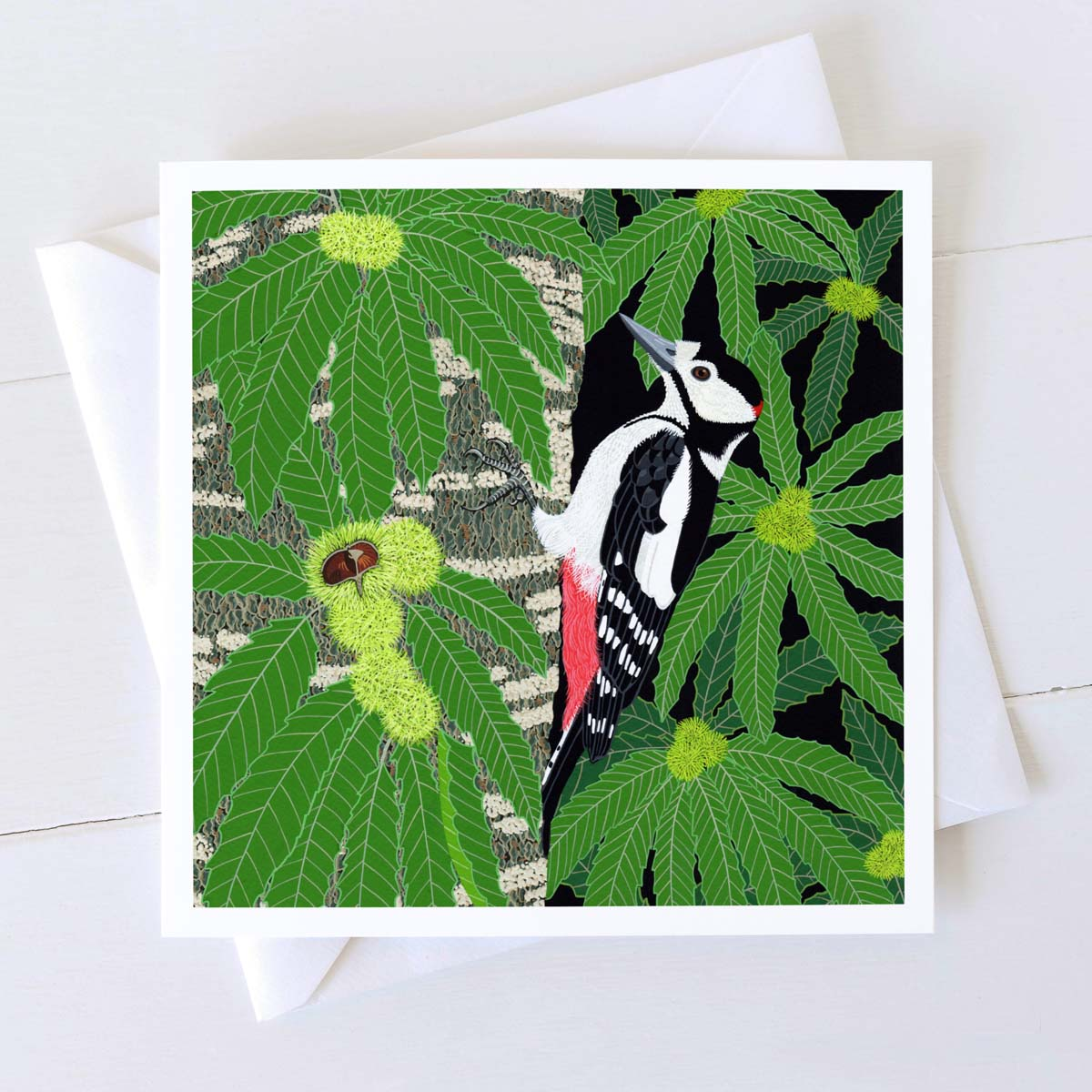 Great Spotted Woodpecker Square card by Bird